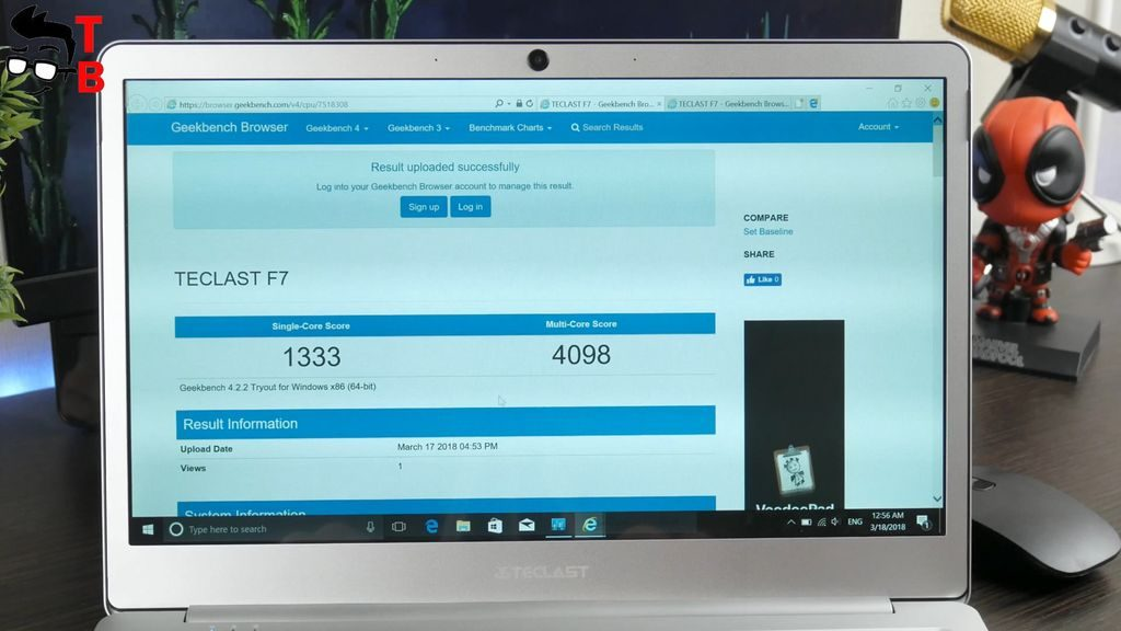 Teclast F7 REVIEW geekbench benchmark