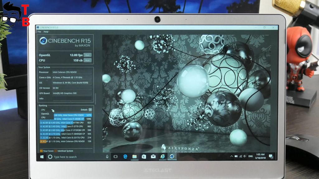 Teclast F7 REVIEW cinebench r15 benchmark