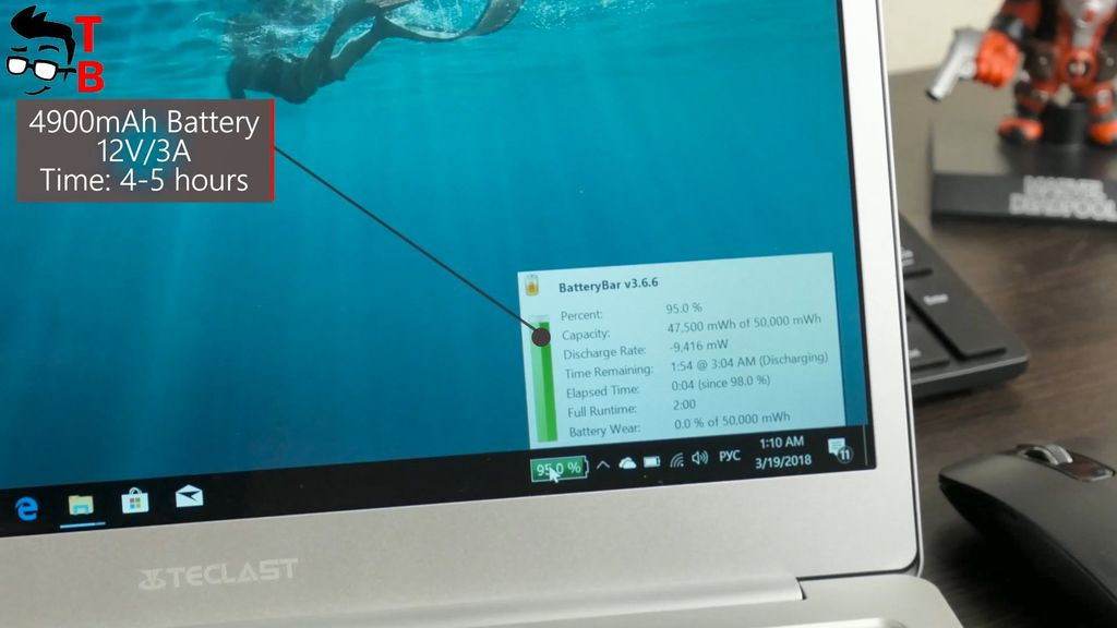 Teclast F7 REVIEW battery